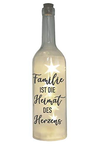 WB wohn trends LED-Flasche mit Motiv, Familie ist die Heimat des Herzens, grau, 29cm, Flaschen-Licht Lampe mit Text Spruch