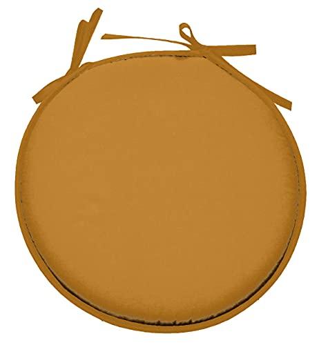 Lovely Casa – Cojín para Silla – Modelo Nelson – Curry – Diam 40 cm – 100% poliéster