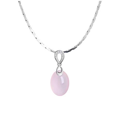 jinyi2016SHOP Collar de Inspiración Plata Rosada del Hibisco esterlina Colgante de Piedra de Cristal Señora clavícula Collar Señora joyería (Rosa Claro) Exquisita Decoración para Mujeres y Niñas