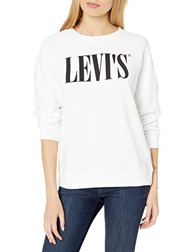 Levi's Women's Relaxed Graphic Crew Sweatshirts, Crew 90's Serif White, Medium