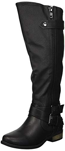 Rampage Women's Hansel Zipper and Buckle Knee-High Riding Boot,Black Smooth,6.5 B(M) US Reg Calf