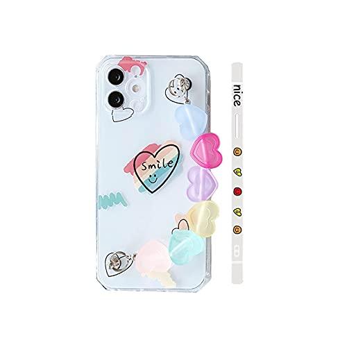 Moda transparente Smiley amor corazón pulsera silicona teléfono caso para iPhone 12 11 Pro Max 7 8 Plus X XR Max XS cubierta-2-para iPhone 12ProMax