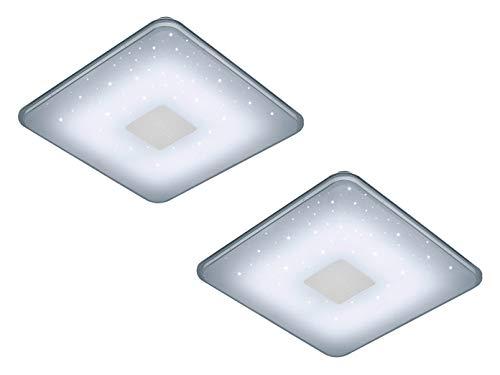 Multifunktionale LED Deckenleuchte Eckig im 2er Set mit Fernbedienung - dimmbar - Highlight Sternenlicht Effekt!