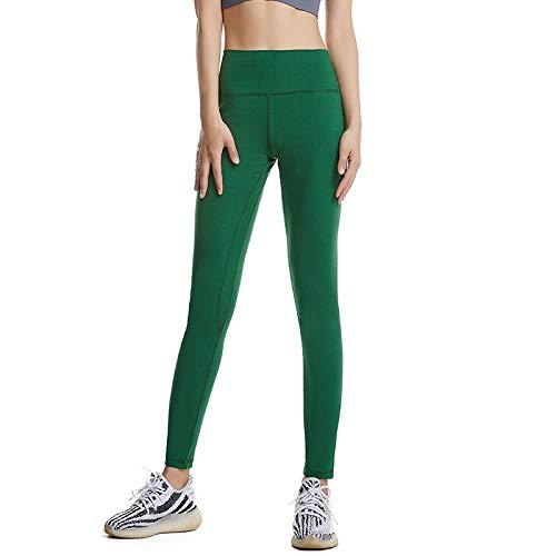 ZiyiZNL yogabroek voor dames, met zakken, ultrazachte en comfortabele yoga-leggings met zakken, damesbuikcontrole, workout & hardloopbroek, dames, hoge taille, donkergroen, maat XL