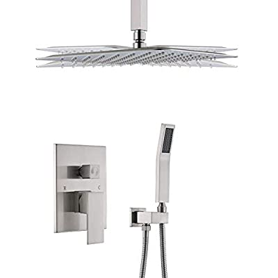 STARBATH SS01FCN 12 Inch Ceiling Mounted Shower System with Rain ShowerHead and Handheld Shower Head, Shower Faucet Rough-in Mixer Valve and Trim Included Shower Combo Set, Brushed Nickle