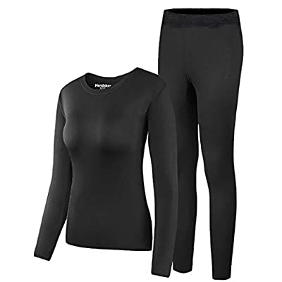 HEROBIKER Women's Thermal Underwear Set Long Johns Ultra Soft Thermal Pajama Top Bottom Black