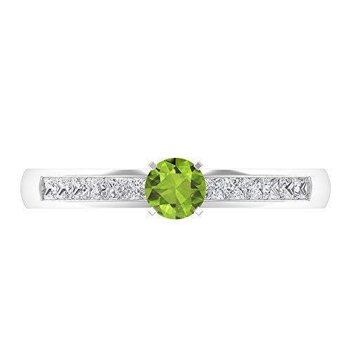 Anillo solitario de corte redondo de 4 mm, corte princesa HI-SI diamante, anillo de banda ancha de oro 14K Oro blanco