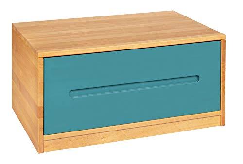 BioKinder Lina Sideboard Bettkasten Kommode mit Schublade aus Massivholz Erle und Kiefer 80 x 55 x 40 cm, Schublade blau lasiert