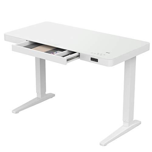 bonmedico Movu Elektrisch Höhenverstellbarer Schreibtisch, Induktive Ladestation, Ergonomischer Stehschreibtisch mit Touch Funktion & USB, Elektrischer Schreibtisch, weiß