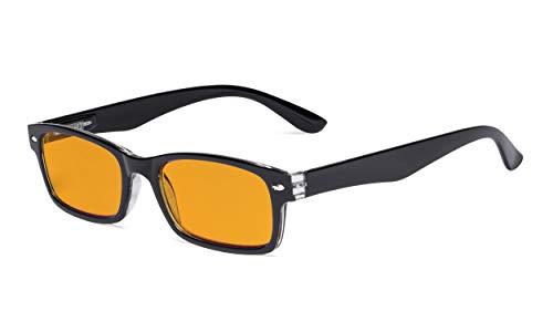 Eyekepper Gafas de computadora con bloqueo de luz azul con filtro anti-rayos UV tintado naranja Mujeres Hombres - Lectores digitales para dormir mejor por la noche - Negro +1.00