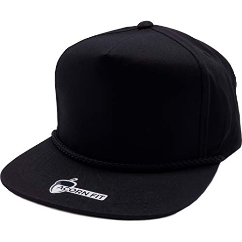 Acorn-Fit Vintage 5 Panel Roped Snapback Hat Baseball Cap (Black)