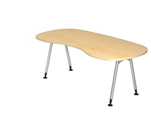 DR-Büro Schreibtisch 200 x 100 cm - Höhe einstellbar von 68-76 cm - nierenförmiger Bürotisch in 7 Farben - Gestell Silber - Kabelwanne, Farbe:Ahorn
