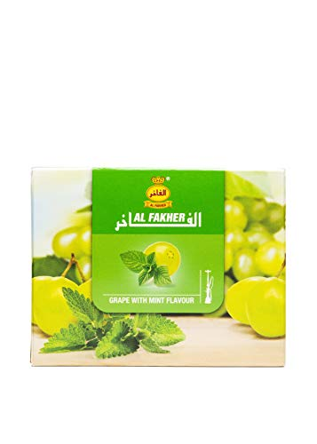 Al Fakher Shisha Molasses - Non Tobacco 250g Grape with Mint Flavor Hookah Water Pipe