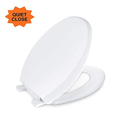 Elongated Toilet Seat, Dalmo DBTS01S Toilet Seat with Non-Slip Seat Bumpers, Slow-Close Elongated White Toilet Seat with Metal Screw Bolts Easy to Install & Clean, No Slam Toilet Seat, White