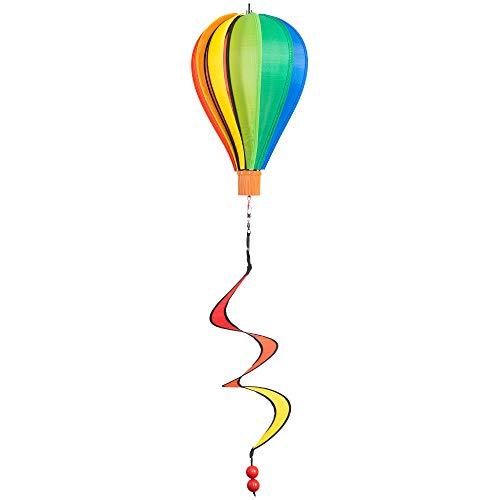CIM Windspiel - Micro Heißluftballon Regenbogen - wetterbeständig - Ballon: Ø17cm x 28cm, Korb: 4cm x 3.5cm, Spirale: Ø10cm x 35cm - inklusive Aufhängung