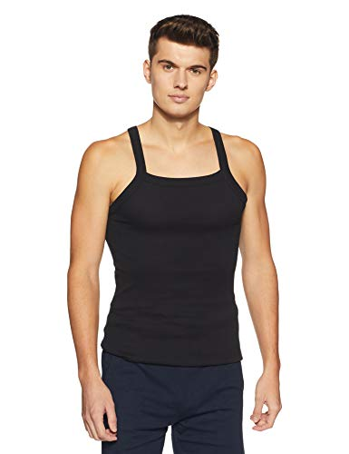 Hanes Men's Cotton Vest (8907036838190) (P125-002-PL Black S)