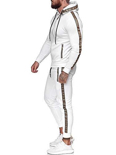 Code47 | Herren Trainingsanzug | Jogginganzug | Sportanzug | Jogging Anzug | Hoodie-Sporthose | Jogging-Anzug | Trainings-Anzug | Jogging-Hose | Modell JG-1424 Weiss L