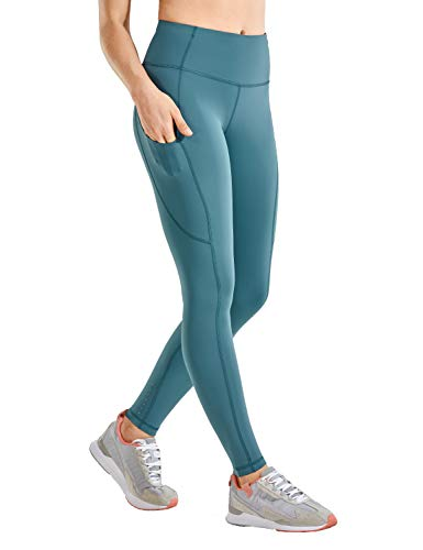 CRZ YOGA Damen Sports Leggings Sporthose-Hohe Taille,Mit Seitentaschen-71cm Petrol Blue 36