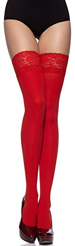 Merry Style Damen halterlose Mikrofaser 40 DEN Strümpfe mit Spitze MSSSJ01 (Rot, 3/4 (40-44))