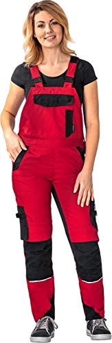 Planam Damen Arbeitslatzhose Norit in vielen Farben (42, rot-schwarz)