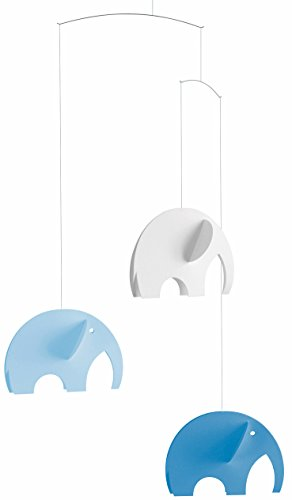 Elephant Blue Hanging Mobile - 24 Inches - Handmade in Denmark by Flensted