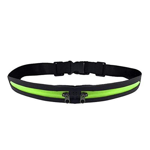 Running Waist Packs Runner Pouch Fitness Workout Belt Adjustable Sport Waist Exercise Waist Pack Phone Holder for Running Fits 6.5 inches Smartphones, Running Pouch for Men and Women Green-Dual Pocket