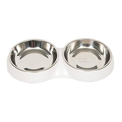 Catit Double Cat Food Bowl, White, 6.83 fl. oz.