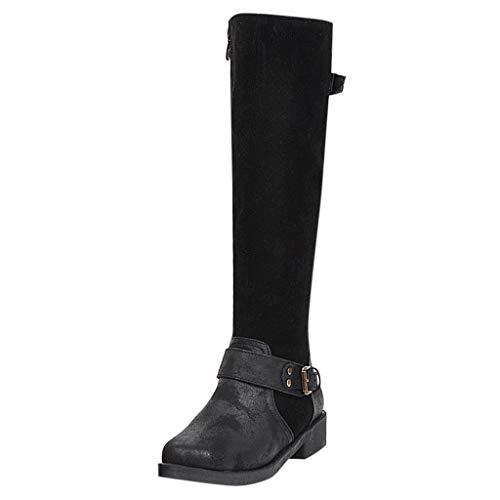 Luckycat Mujer Plataforma Tacón Bloque Botas Mosqueteras Henreal Botas para Mujer, Botines de Cuero Otoño Vintage Zapatos de Mujer Botas cómodas de tacón Plano Bota Alto Botas De Nieve