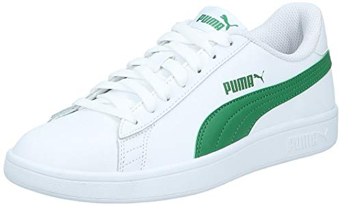 PUMA Unisex Adult Smash v2 L Sneaker, White-Amazon Green, 43 EU