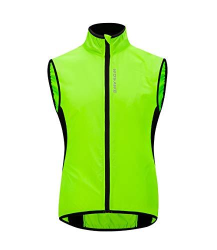 WOSAWE Gilet da ciclismo da uomo Leggero e traspirante all'aperto Corsa senza maniche Giacche per il tempo libero Abbigliamento sportivo(Verde L)