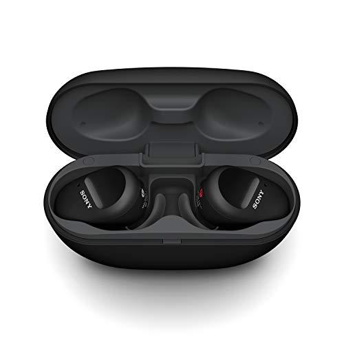 Sony WF-SP800N vollkommen kabellose Sport Kopfhörer / Earbuds mit Noise Cancelling/ aktiver Geräuschunterdrückung - super sicherer Halt und wasserfest - incl. Ladecase für extra Power unterwegs
