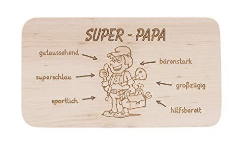 LASERHELD Frühstücksbrett aus Holz mit Gravur Super-Papa als Coole Geschenkidee zum Vatertag, Brotzeitbrett aus Holz, Geschenk für den besten Papa