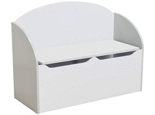 habeig KINDERBANK Kindertruhe weiß 77x55x30cm Soft Close Bank Kindermöbel Stuhl Sitzmöbel Truhe