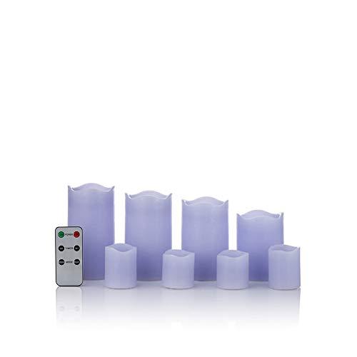 8 LED Echtwachskerzen Set mit Timer und Fernbedienung - 4 Stumpenkerzen und 4 Teelichter (Pastelllila)