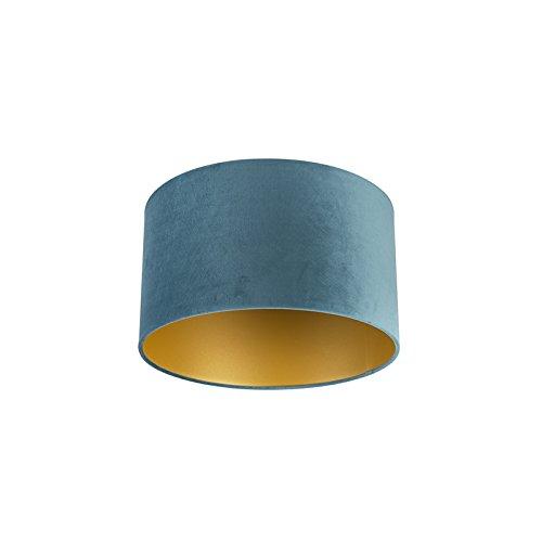 QAZQA Baumwolle Velour Lampenschirm blau 35|35|20 mit Gold | Messingener Innenseite, Rund gerade Schirm Pendelleuchte,Schirm Stehleuchte