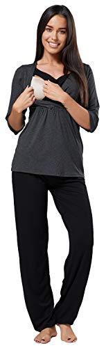 Happy Mama. Damen Umstandspyjama Stillfunktion Stillschlafanzug 3/4 Ärmeln. 060p (Graphit und Schwarz, 42, XL)