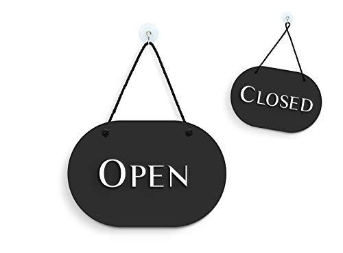 3DP Signs - óvalo con Estilo Negro - Open Closed - Cartel Doble Cara [OC35] - Placa de la Puerta Colgante de Doble Cara - Letrero de la Tienda Comercial Reversible