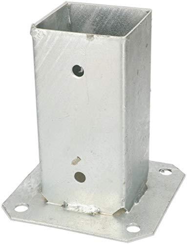 KOTARBAU® Soporte manguito atornillado 70 x 70 mm cuadrado para madera para postes casquillo de poste para el suelo casquillo galvanizado en caliente soporte de suelo manguito de montaje