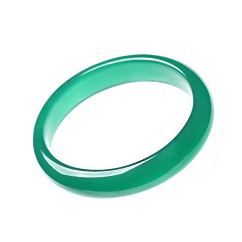 KALRTO Agaat Jade Armband, Fijne Groene Chalcedonie Armband, Wijde Dikke Agaat Armband, Jurk Accessoires Sieraden, 56mm-58mm