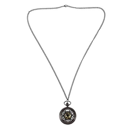 ACAMPTAR Colgante Retro de Números Romanos de Pétalos Negros Reloj de Bolsillo de Regalo para Hombre para Mujer