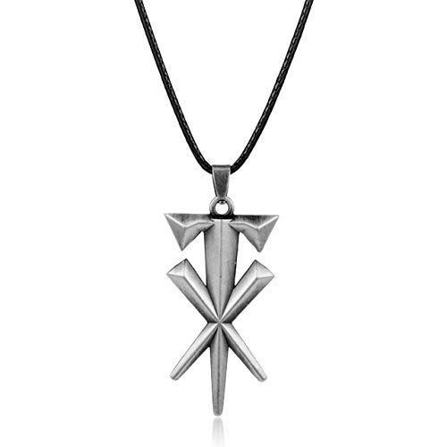 Davitu Fashion Jewelry Geometric Cross Undertaker Pendant Necklace Leather Cord Necklace Metal Cool Accessories Gift for Men - (Metal Color: Silver)