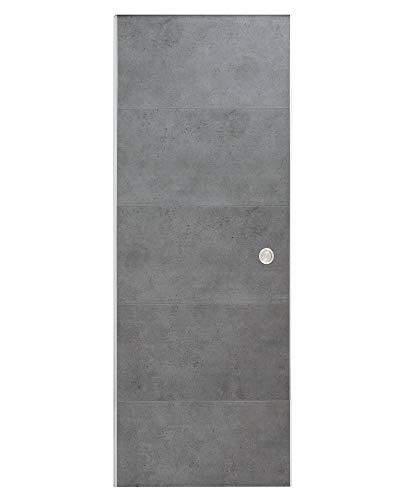 Ondis24 Schiebetür SLIDE, Zimmertür für Wohnung, mit Laufschiene an Wand entlang, Indoor Raumteiler mit Schiene, Schiebetürsystem Kit, Raumtrenner mit Bodenführung (87 cm, Beton)