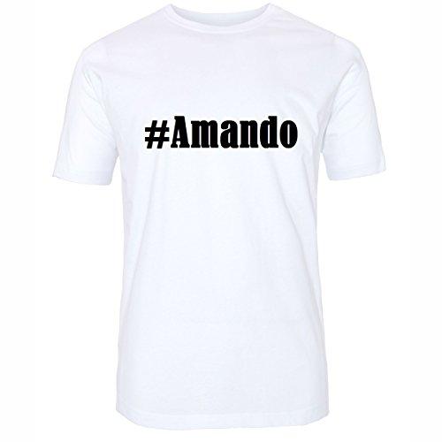 Reifen-Markt T-shirt #Amando Hashtag voor dames en heren in zwart en wit
