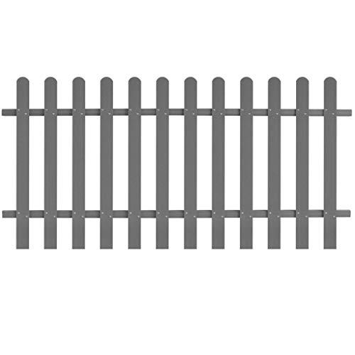 yorten Lattenzaun WPC Gartenzaun Zaun Grau 200 x 100 cm (L x H) Einfacher Zusammenbau für den Garten oder im Freien