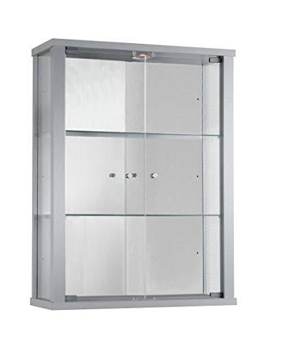 K-Möbel glazen vitrine in zilver (80x60x25 cm) met 2 in hoogte verstelbare glazen planken van ESG, LED en spiegel; verlicht; perfect voor verzamelaars;