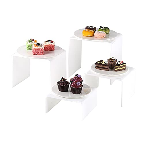 PETAAA Afternoon Tea Stands, Square Cupcake Stands With Ceramic PlatesWedding Party Cake Display Stands Holder For Hotels Café Buffet Food Servers Cake Stands(Size:Round plate,Color:white)