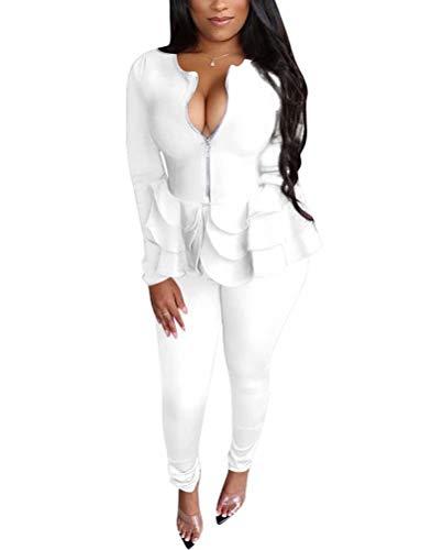 Women 2Piece Long Sleeve Blazer Tracksuits Open Front Jacket and Sweatpants Suit Worksuit Activewear Sets White XL