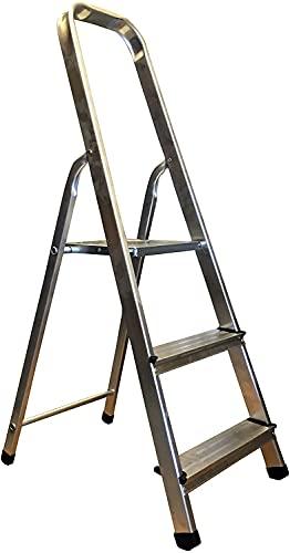 Escalera de Aluminio Plegable multifunción Antideslizante, Ligera y Resistente (3 Peldaños)