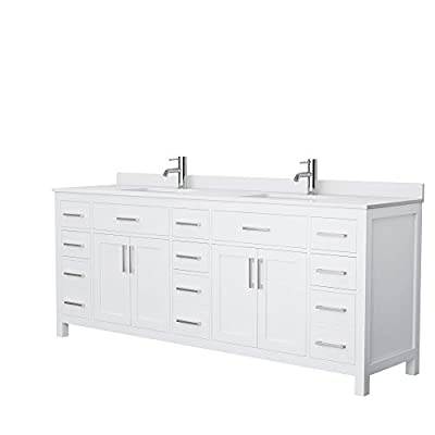 Beckett 84 Inch Double Bathroom Vanity in White, White Cultured Marble Countertop, Undermount Square Sinks, No Mirror