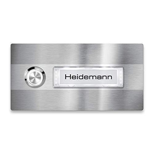 Metzler Klingel-Schild - Edelstahl - LED-Beleuchtung - Namensschild austauschbar (Namensschild mit Beleuchtung, LED-Taster Weiß)